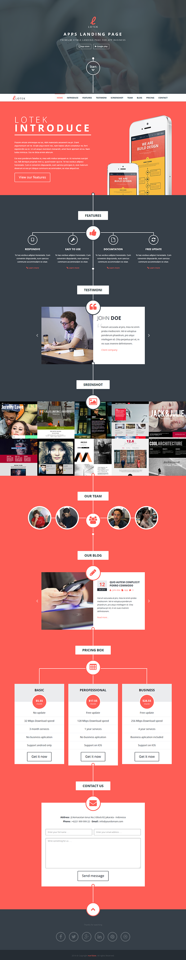 lotek modern app landing page muse template on behance
