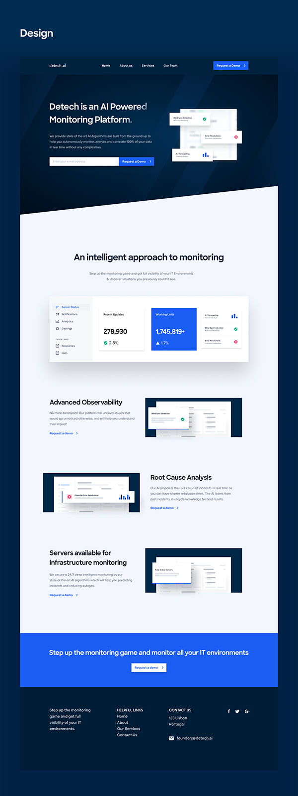 Website Design for AI Monitoring Platform