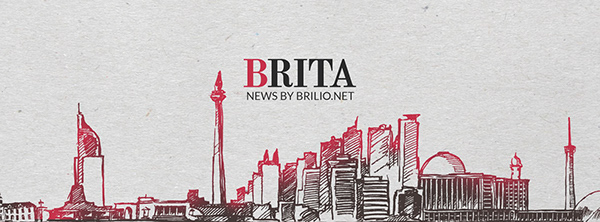 Brita's logo and an illustration of Jakarta city