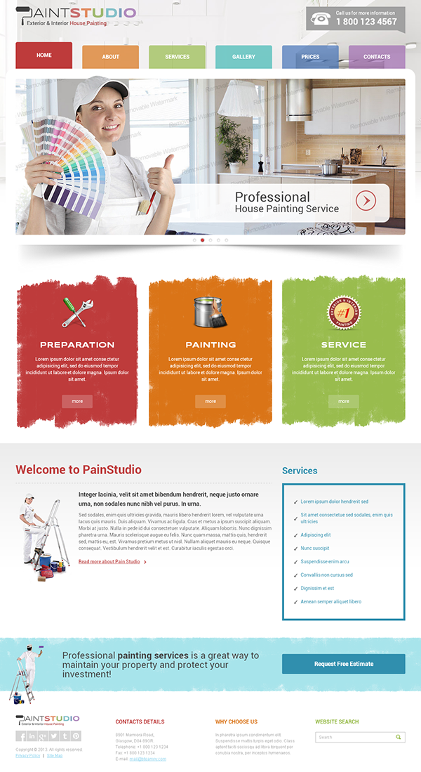 House Painting Studio Bootstrap HTML Template 300111758 on Behance