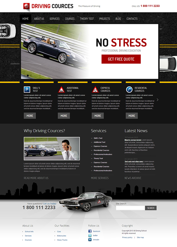 driving school responsive wordpress template on behance