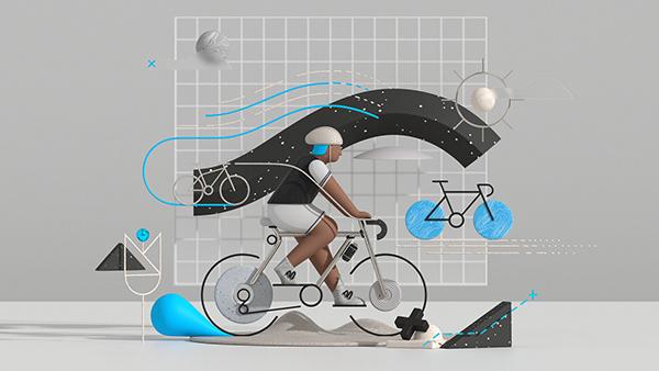 Fietssport. The illustration style