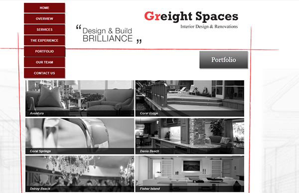 Greight spaces interior design website on the art for Interior design website portfolio