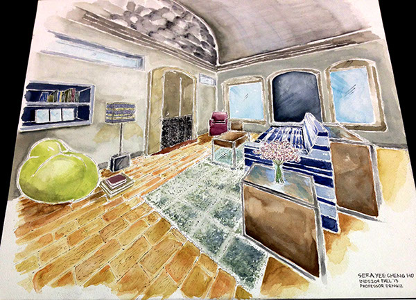 Interior Hand Rendering On Scad Portfolios