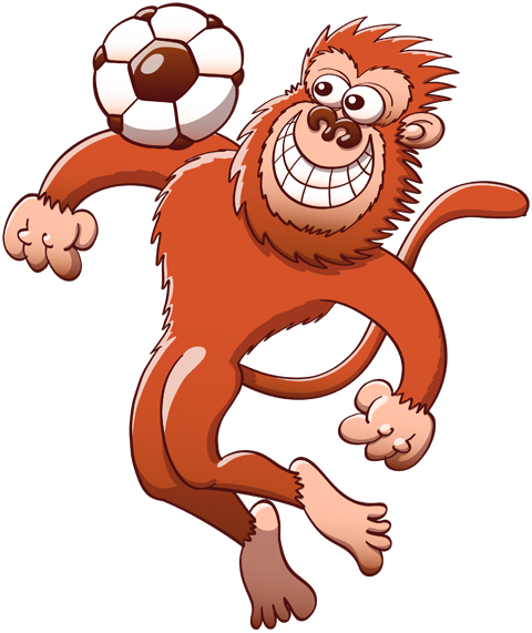 Talented monkey trapping a soccer ball with its chest