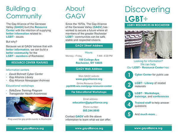 Gay Alliance Of The Genesee Valley Brochure Example