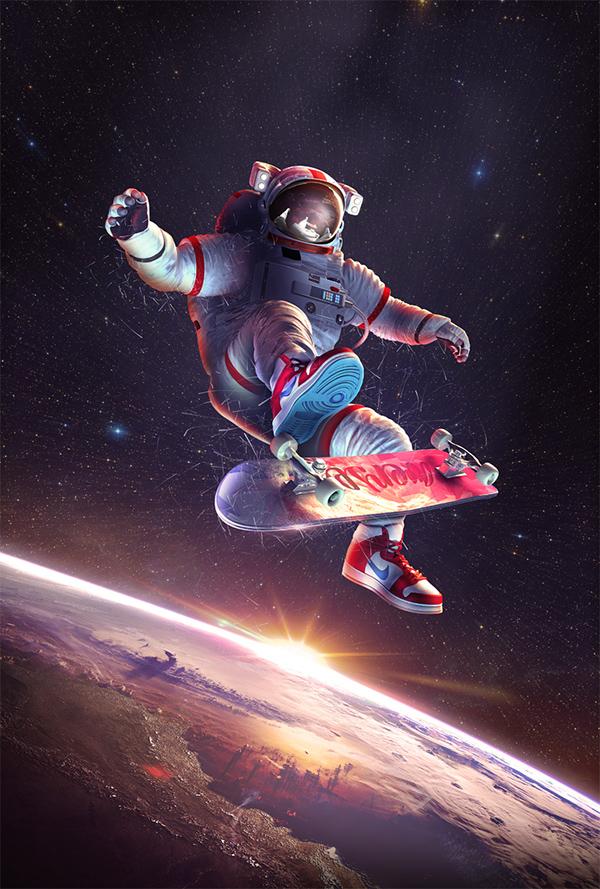 astronaut skateboarding -#main
