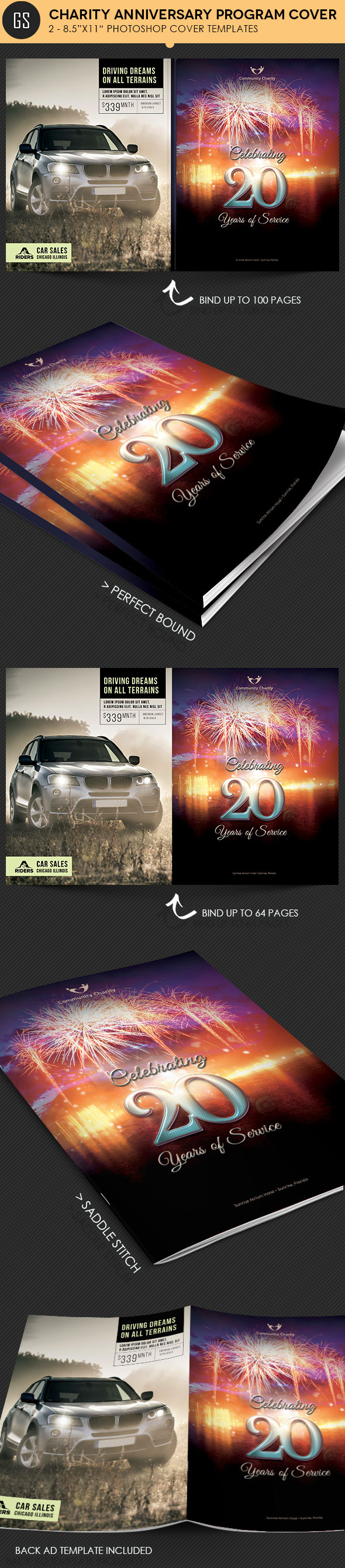 charity anniversary program cover template on behance