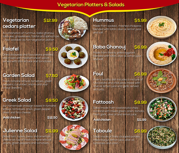 Restaurant menu on behance for Arabic cuisine menu