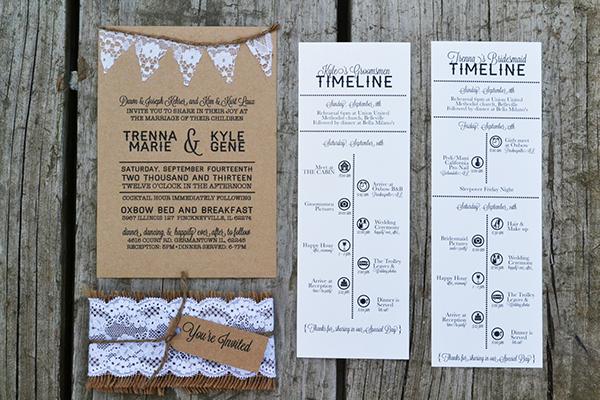 rustic wedding wedding invitations Trenna&Kyle Burlap & Lace Kraft Paper Invitation