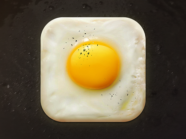 fried egg  icon yellow iPad iphone ios Food  egg fried breakfast
