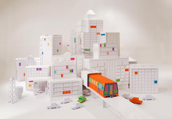 paper art zim&zou installation city Wahsington post train metropolitan cutting craft cardboard
