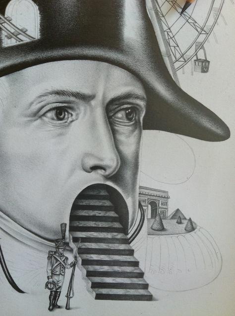 napoleon pencil draw black and white funfair amusement park lollipop pistol Medal cards Playing Cards bonaparte history M Le monde Le Monde