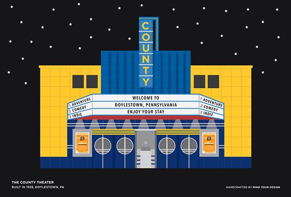digital illustration doylestown Bucks County Pennsylvania historic buildings series
