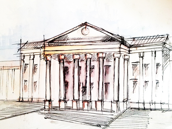 Building Sketches Water Color Architecture Drawing