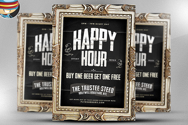 Framed Happy Hour Flyer Template Is A Premium Photoshop PSD Poster Designed By FlyerHeroes To Be Used With CS4 And Higher