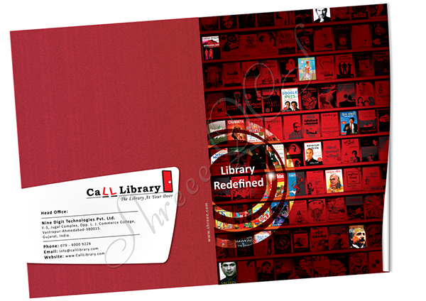 professional brochure design for online library on pantone canvas