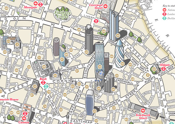 The City of London illustrated map on Behance – Map of London Landmarks