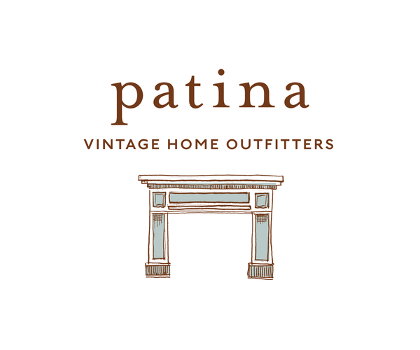 Patina vintage home outfitters name brand identity on behance identity system business cards double as hang tags for furniture reheart Images