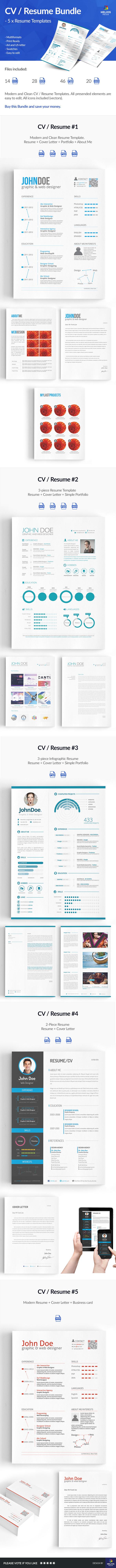 CV Resume template photoshop InDesign cover letter Work  portfolio clean