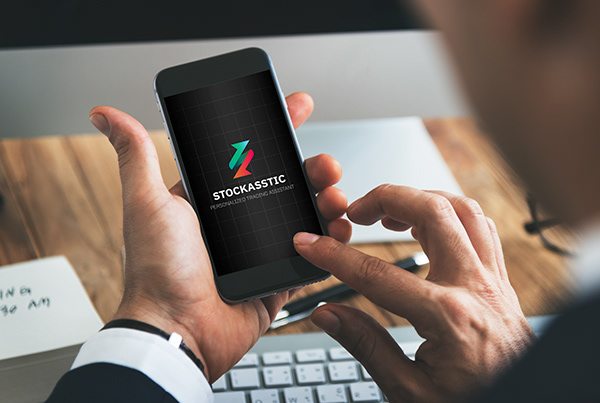 Stockasstic's logo on a mobile phone screen