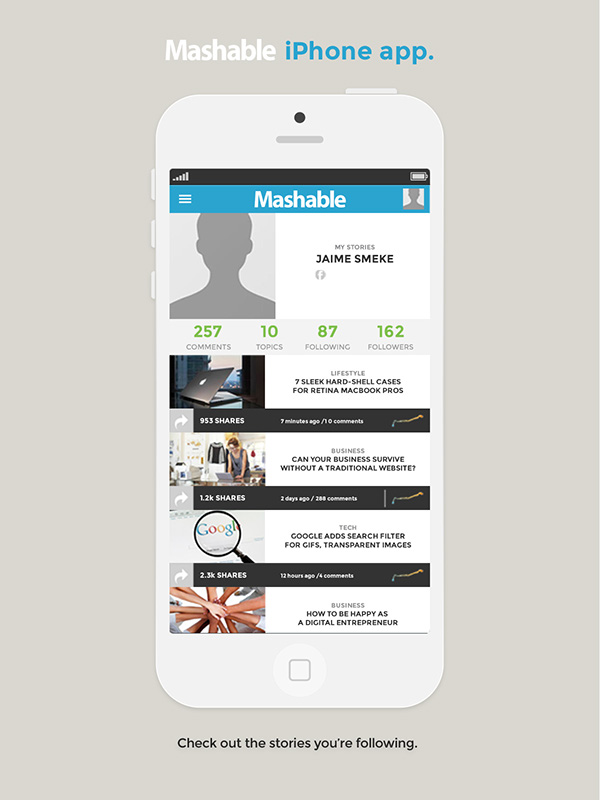 ios,iphone,fictional,redesign,Mashable,mobile,app