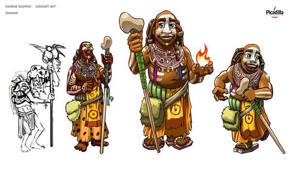 prehistoric Flintstones rock stone shaman gambler architect miner
