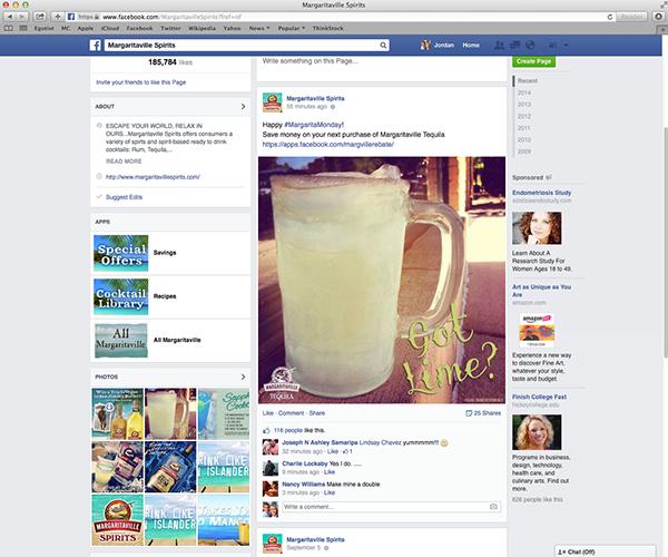Margaritaville Spirits Facebook on AIGA Member Gallery