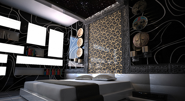 Aztec bedroom private apartment project 3d on behance for Aztec bedroom ideas