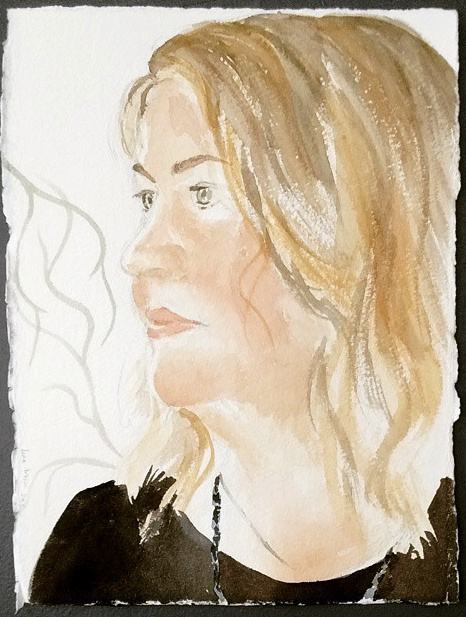 Portrait of Laura in watercolor, 2015