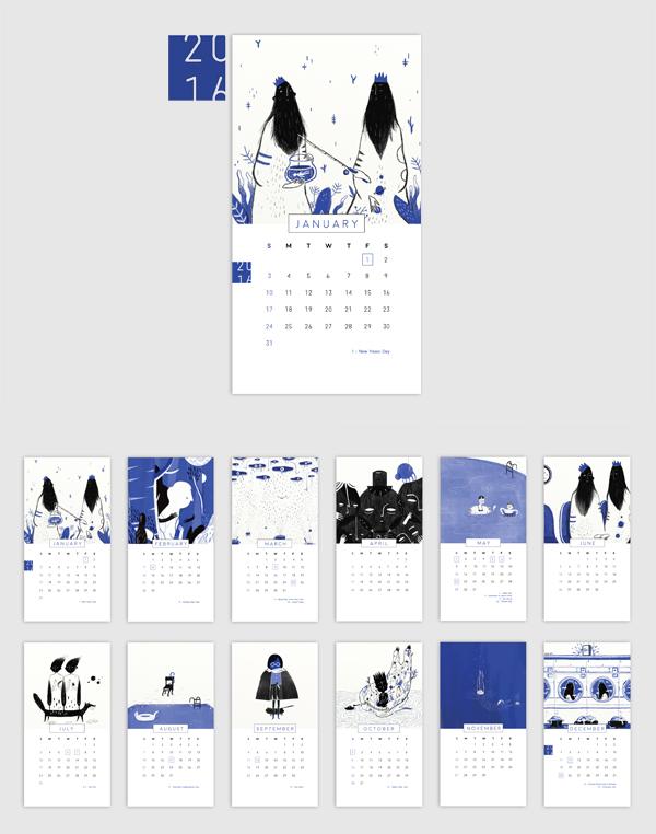 Calendar Design Behance : Quot black and blue desk calendar on behance