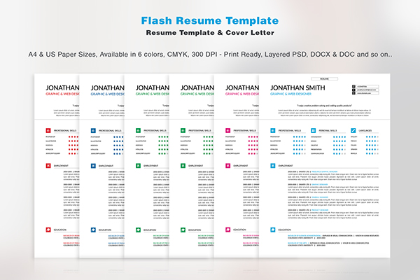 flash resume template on pantone canvas gallery