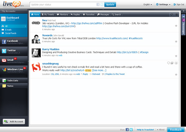 livego,messenger,twitter,All In One