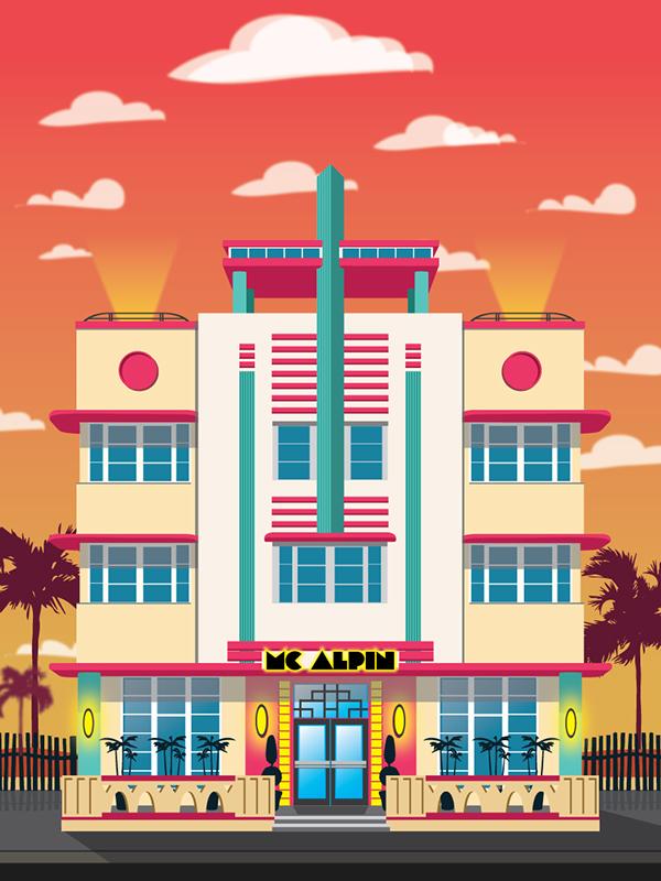 Art deco miami hotel illustrations on behance for Art deco illustration