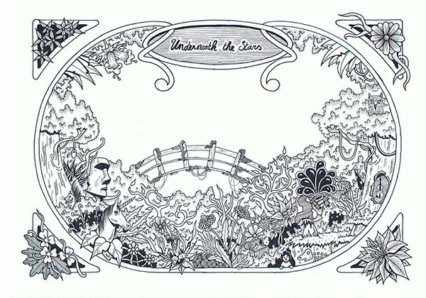 wedding invitation wedding doodle linedrawing stars