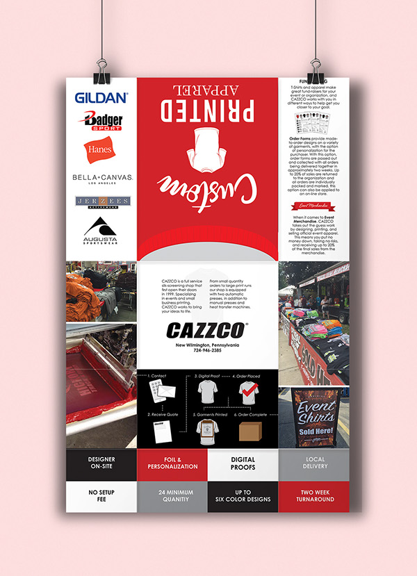 cazzco fold out brochure and poster on student show