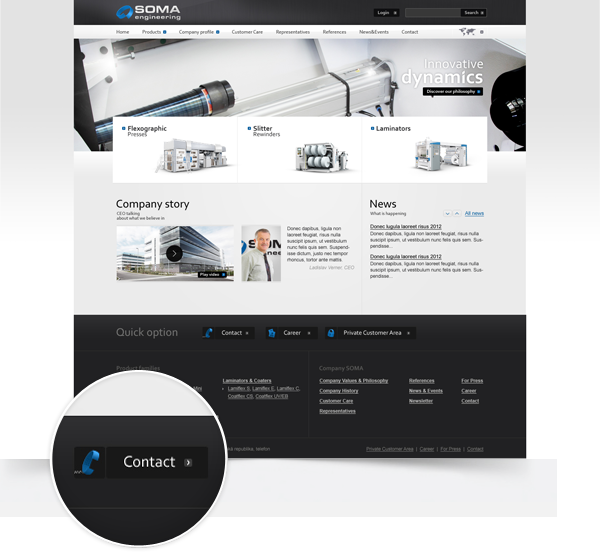 machinery Flexo printing presses clean rendering exposition Website products portfolio