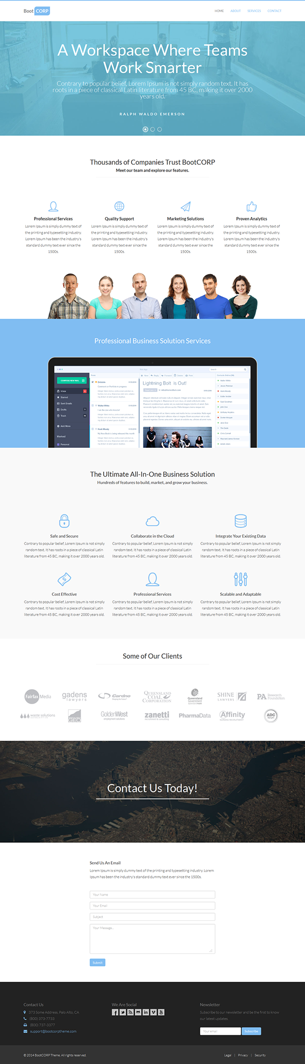 BootCORP - Twitter Bootstrap One-Page Template on Behance