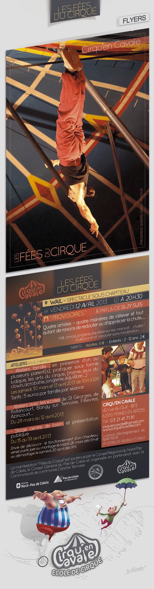 Circus print flyers fees Sectacle Entertainment Performance cirque impression marquee chapiteau cirqu'encavale
