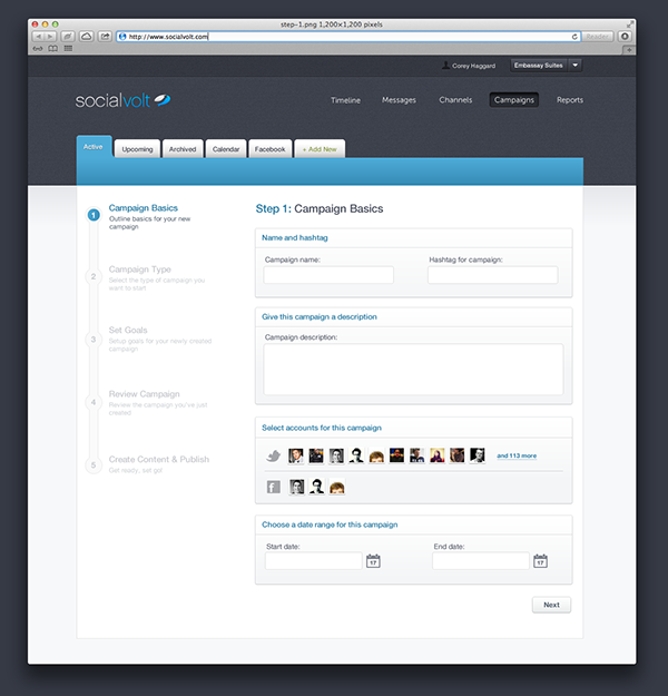 user interface Interface  design clean Graphs  charts visual social app application web application