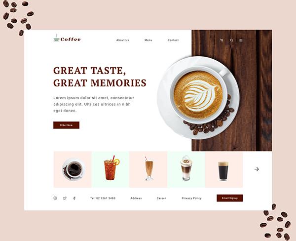 Cafe Web landing page