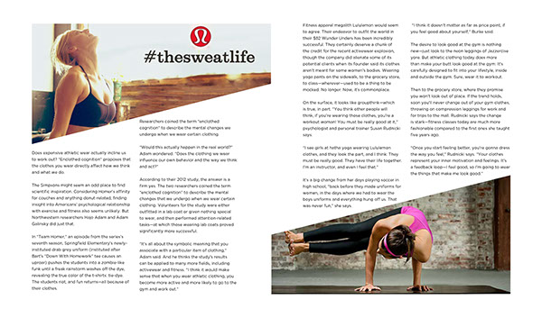 Second Spread Of The Psychology LuluLemon How Fashio Affects Fitness Feature Article For Magazine Classroom Design Project