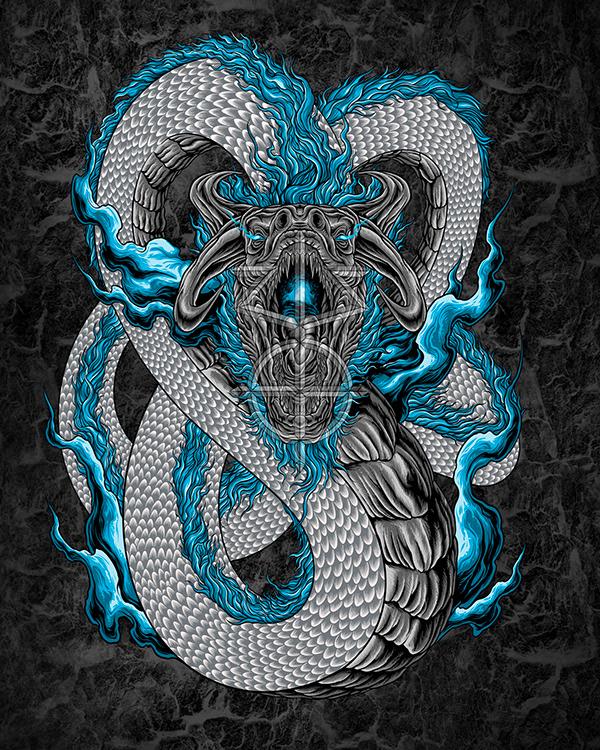 BLUE FIRE DRAGON ILLUSTRATION