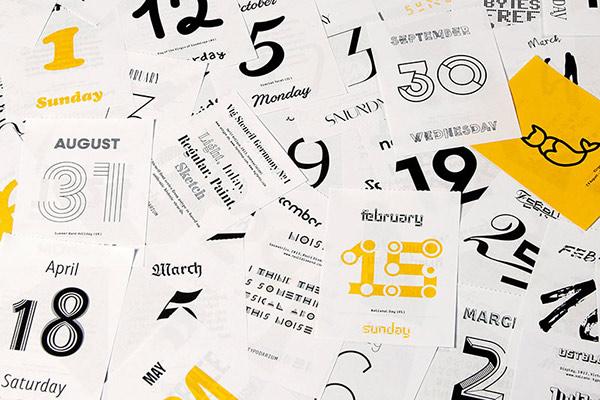 calendar type design font typographical Raban Ruddigkeit Lars Harmsen Hermann Schmidt Mainz typefaces