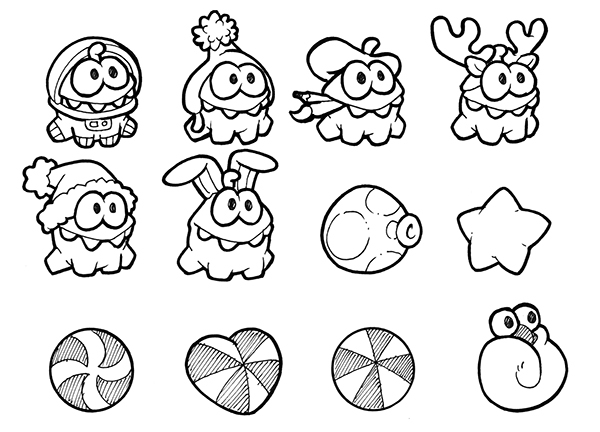 Cut the rope coloring pages ~ Om Nom Cut The Rope Coloring Pages Sketch Coloring Page