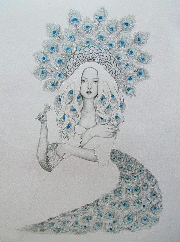 girl peacock feather watercolor hair