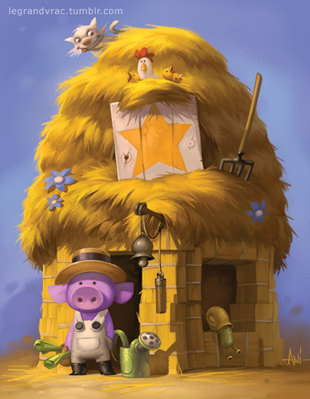 cabin pig wolf tale boardgame game