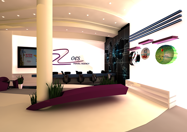 Zoes travel agency on behance for Interior design travel agency office