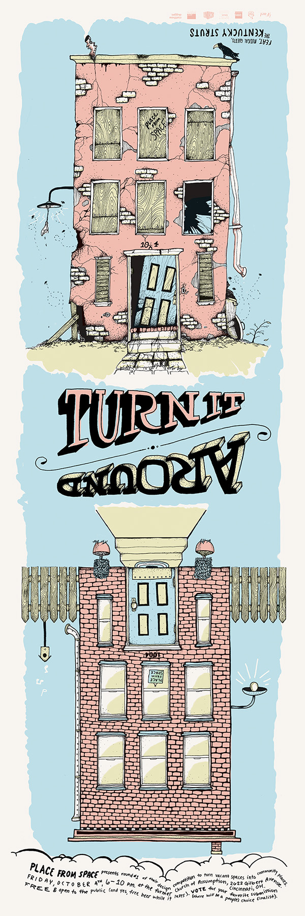 turn around poster Event building old hand drawn