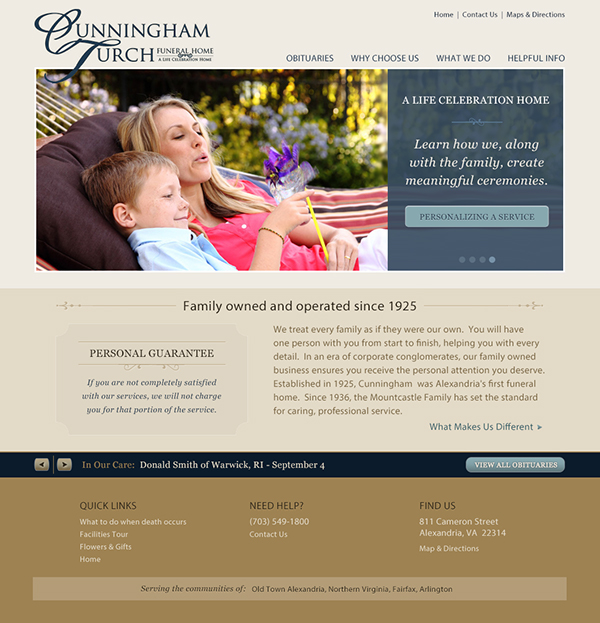 Cunningham Turch Funeral Home Website Design on Behance